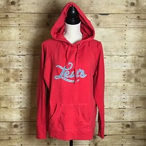 LEVI'S HOODIE WOMENS PULL OVER RED EUC LARGE